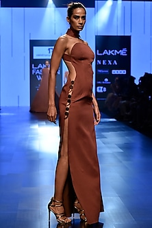 Dark Brown Circular Slide Slash Gown by Nikhil Thampi