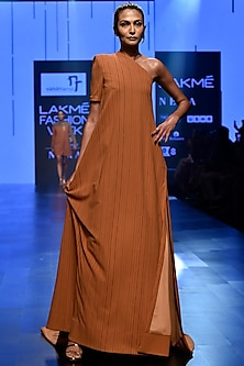 Brown One Shoulder Trapeze Gown by Nikhil Thampi