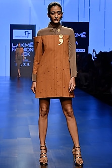 Brown & Stone Shirt Mini Dress by Nikhil Thampi