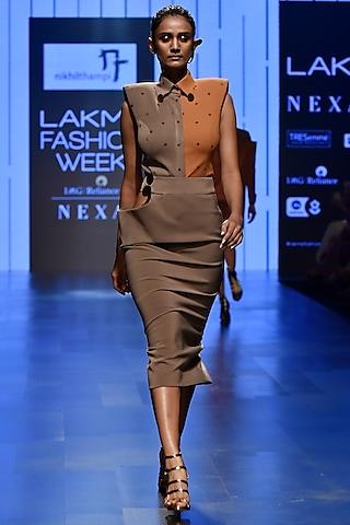 Grey Half & Half Bodysuit With Peg Skirt by Nikhil Thampi