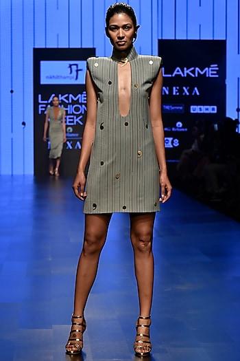Grey Low Neck Sage Mini Dress by Nikhil Thampi