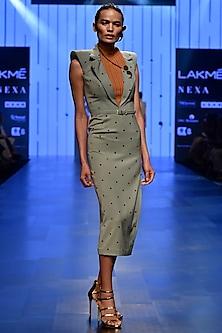 Grey Sage Sheath Dress by Nikhil Thampi