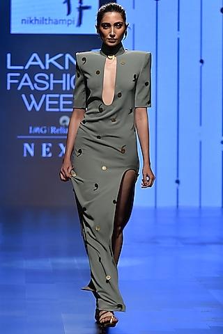 Grey Deep Neck Sage Column Dress by Nikhil Thampi