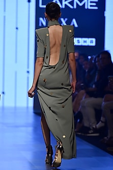 Grey Deep Neck Sage Column Dress by Nikhil Thampi