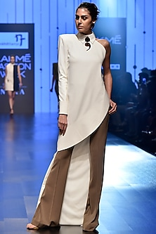 White Asymmetrical Tunic With Stone Pants by Nikhil Thampi