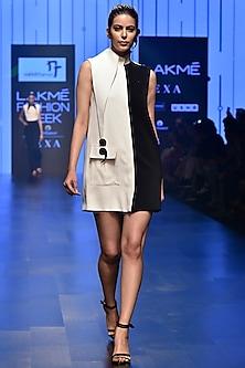 White & Black Half & Half Mini Dress by Nikhil Thampi