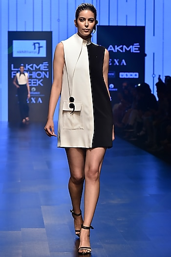 White & Black Half & Half Mini Dress by Nikhil Thampi