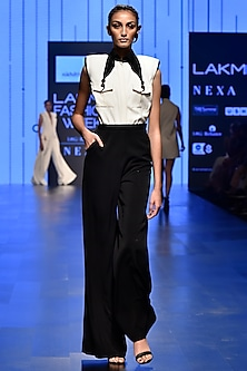 White & Black Half & Half Jumpsuit by Nikhil Thampi