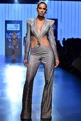 Silver Circular Waist Cut Out Shimmery Jumpsuit by Nikhil Thampi
