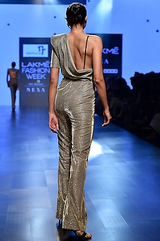 Silver One Shoulder Draped Shimmery Jumpsuit by Nikhil Thampi