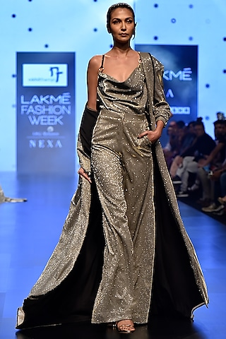 Silver Shimmery Draped Crop Top With Pants & Oversized Jacket by Nikhil Thampi