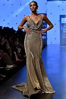 Silver Draped Fishtail Shimmery Gown by Nikhil Thampi