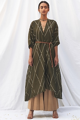 Olive Green Bandhej Kaftan by The Label Nuska