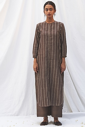 Black Pepper Tunic Set With Front Opening by The Label Nuska