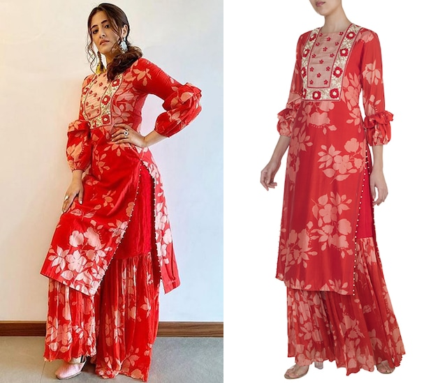 Red Embroidered Printed Kurta With Sharara Pants by Suave by Neha & Shreya
