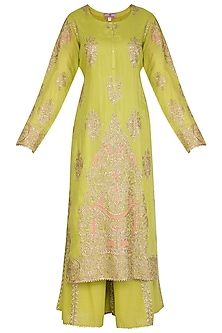 Green Embroidered Sharara Set by Nysa & Shubhangi