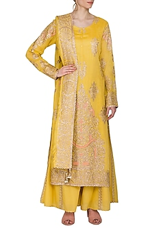 Mustard Embroidered Sharara Set by Nysa & Shubhangi