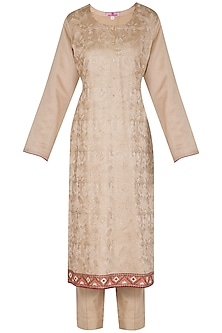 Beige Embroidered Kurta Set by Nysa & Shubhangi