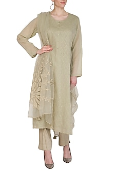 Mint Green Applique Kurta Set by Nysa & Shubhangi
