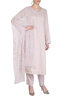 Grey Applique Kurta Set by Nysa & Shubhangi