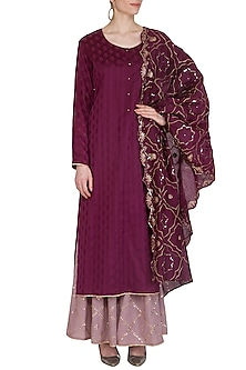 Wine Embroidered Gharara Set by Nysa & Shubhangi