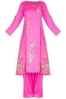 Neon Pink Gota Kurta Set by Nysa & Shubhangi