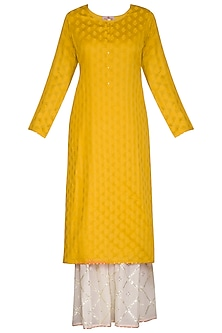 Mustard Embroidered Gharara Set by Nysa & Shubhangi