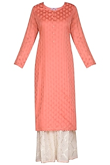 Peach Embroidered Gharara Set by Nysa & Shubhangi