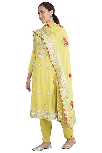 Lemon Green Embellished Kurta Set by Nysa & Shubhangi