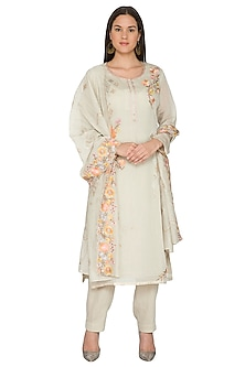 Light Mint Green Embroidered Kurta Set by Nysa & Shubhangi