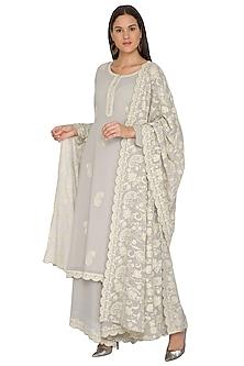 Grey Aari Embroidered Kurta Set by Nysa & Shubhangi