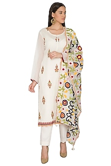 Cream Embroidered Kurta Set by Nysa & Shubhangi