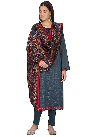 Charcoal Blue Kurta Set With Embroidered Dupatta by Nysa & Shubhangi