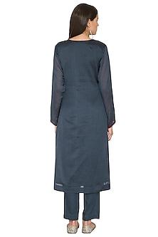 Charcoal Blue Kurta Set With Embroidered Dupatta by Nysa & Shubhangi