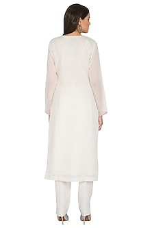 Cream Embroidered Chanderi Kurta Set by Nysa & Shubhangi