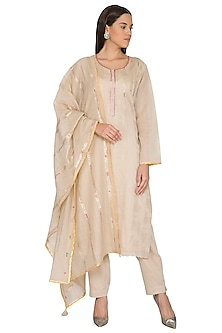Fawn Beige Embroidered Kurta Set by Nysa & Shubhangi