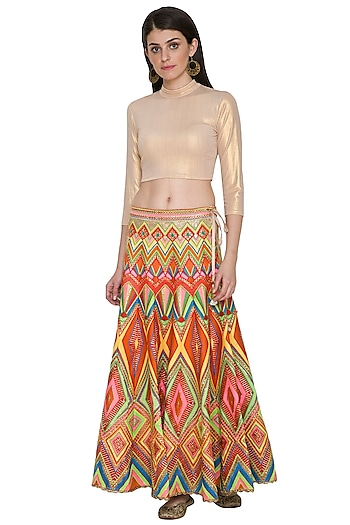 Multi Colored Gota Embroidered Skirt by Nysa & Shubhangi