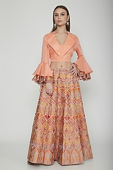Multi Colored Thread Embroidered Skirt With Crop Top by Nysa & Shubhangi
