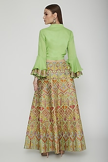 Multi Colored Embroidered Skirt & Crop Top by Nysa & Shubhangi