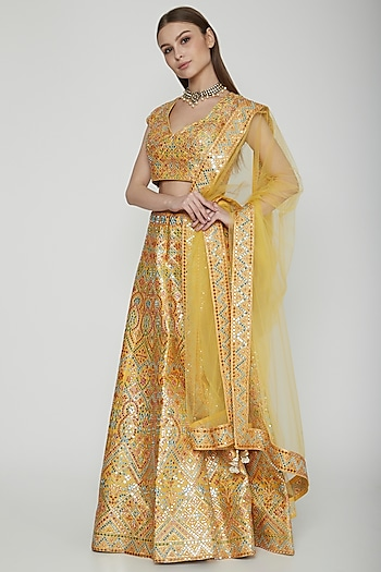 Yellow Embroidered Lehenga Set by Nysa & Shubhangi