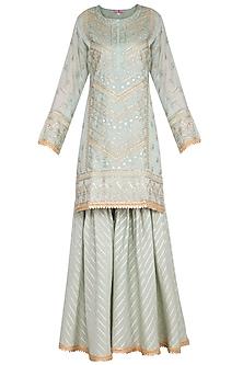 Turquoise Embroidered Sharara Set by Nysa & Shubhangi