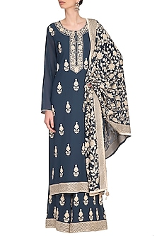 Charcoal Blue Embellished Sharara Set by Nysa & Shubhangi
