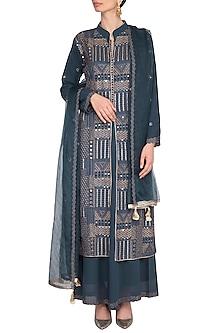 Charcoal Blue Embroidered Sharara Set by Nysa & Shubhangi