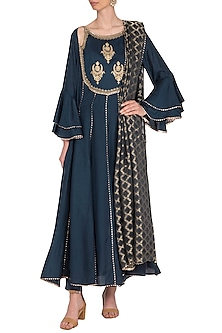 Charcoal Blue Embroidered Anarkali Set by Nysa & Shubhangi