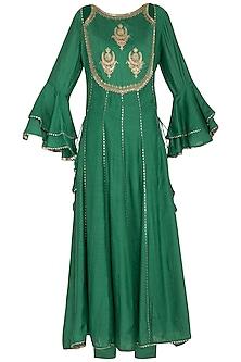 Green Embroidered Anarkali Set by Nysa & Shubhangi