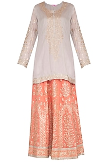 Grey & Peach Embroidered Lehenga Set by Nysa & Shubhangi