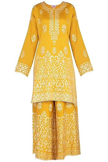 Mustard Ghicha Embroidered Sharara Set by Nysa & Shubhangi