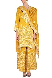 Mustard Ghicha Embroidered Sharara Set by Nysa & Shubhangi