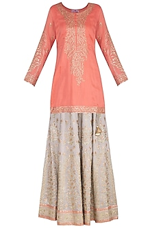 Peach & Grey Embroidered Lace Lehenga Set by Nysa & Shubhangi