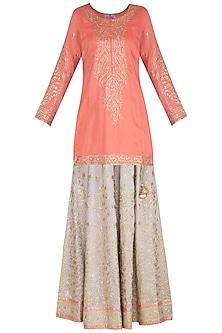Peach & Grey Embroidered Lace Lehenga Set by Nysa & Shubhangi
